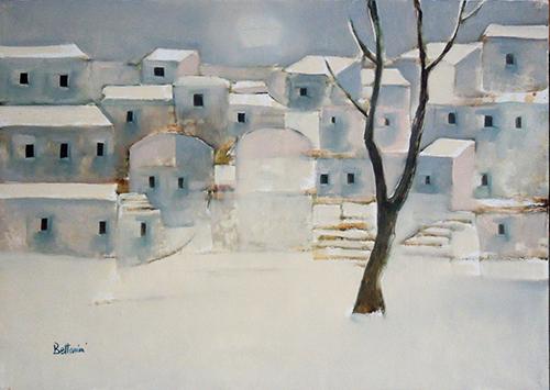 Quadro di Lido Bettarini Nevicata con albero - olio tela