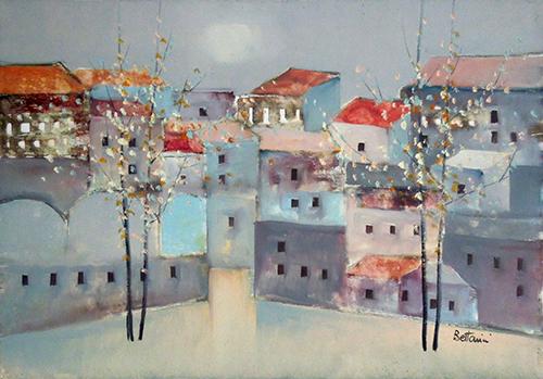 Quadro di Lido Bettarini Primavera e case - olio tela