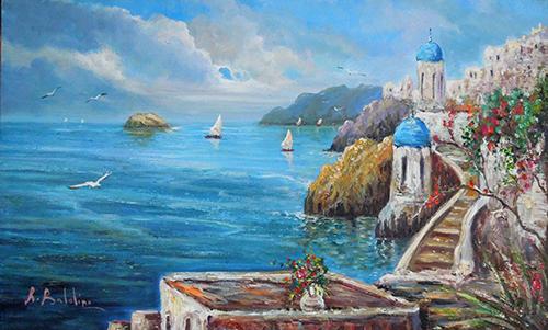 Quadro di Rossella Baldino Colori sull'isola  - olio tela