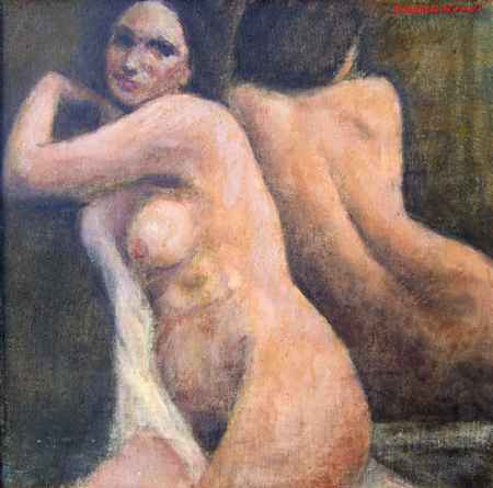 Art work by Costante Costantini Nudo allo specchio - oil canvas cardboard