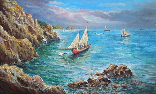 Quadro di Rossella Baldino Marina di Capri  - olio tela