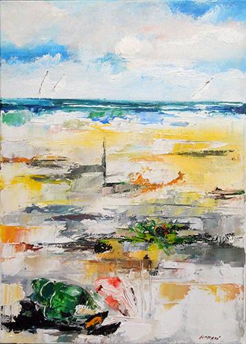 Quadro di Mauro Capitani Conchiglia fiore sulla spiaggia  - olio tela