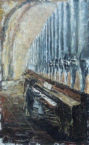 Quadro di  Caprari Pianista - olio compensato