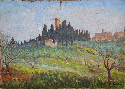 Art work by Umberto Lorini Castello Sonnino, Montespertoli - oil canvas