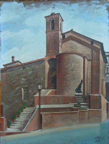 Quadro di Giovanni Monti Chiesa di San Rocco  - olio cartone