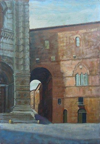 Quadro di Giovanni Monti Scorcio di Siena  - olio tela