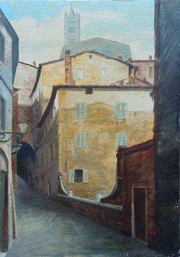 Quadro di Giovanni Monti Scorcio di Siena  - olio cartone