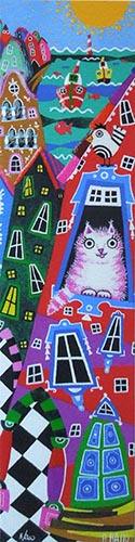 Quadro di Paola Basso Cat and the city - grafica carta