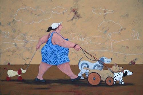 Quadro di Lisandro Rota The toy dog sitter - grafica carta
