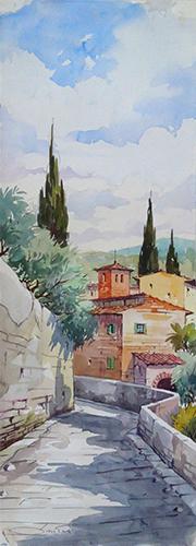Quadro di Giovanni Ospitali Paesaggio di Fiesole - acquerello carta