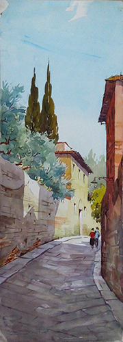 Art work by Giovanni Ospitali Veduta fiesolana  - watercolor paper
