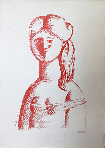 Art work by Antonio Bueno Figura di donna - lithography paper