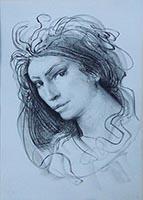 Quadro di Pietro Annigoni - Volto litografia carta