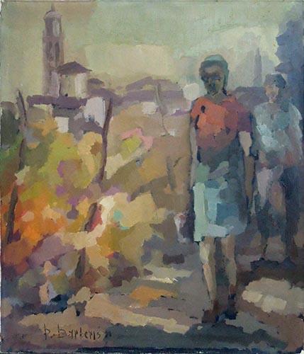 Quadro di Pasquale Barberis Paesaggio e figure sulla strada - olio tela