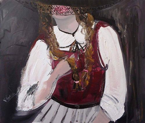 Quadro di Vanessa Katrin Prima dello spettacolo - olio cartone telato
