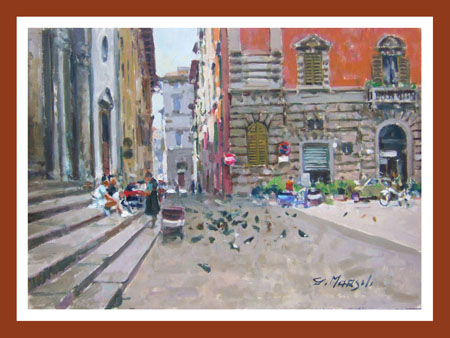 Quadro di Graziano Marsili S.S.Annunziata, olio su tavola 25 x 35 | FirenzeArt Galleria d'arte