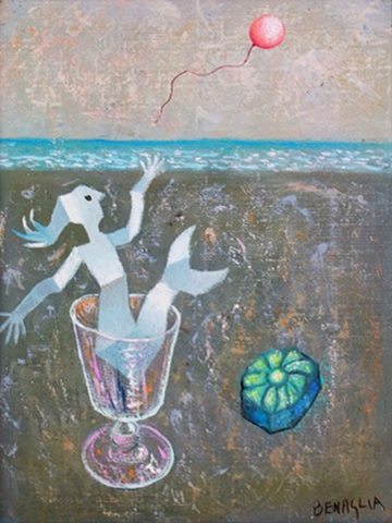 Quadro di Enrico Benaglia Il messaggio - olio tela