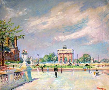 Quadro di Lucien Adrion Les Tuileries (Parigi) - olio tela