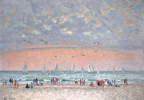 Art work by Andre Hambourg Temps doux a Trouville (Normandia) - oil canvas