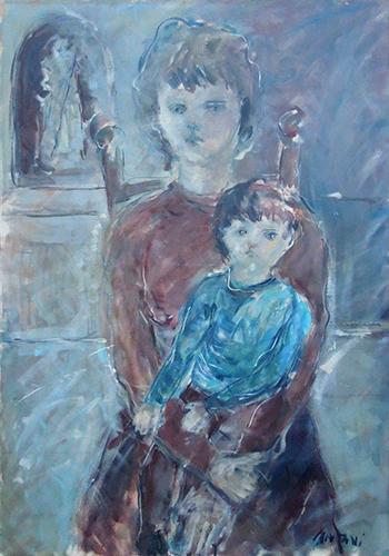 Art work by Mauro Capitani La madre  - oil canvas
