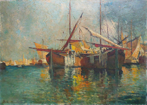 Art work by Sergio Cirno Bissi Marina - oil cardboard