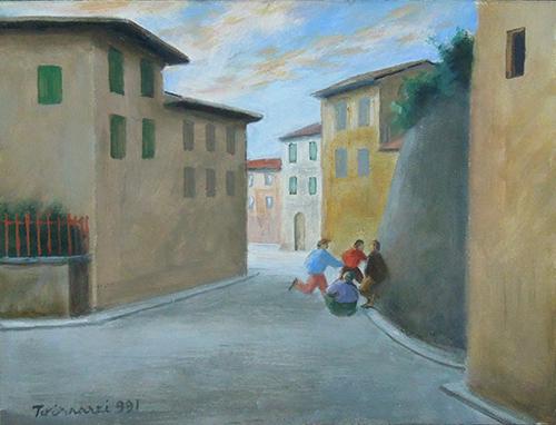 Quadro di Nino Tirinnanzi Ragazzi e case - olio cartone