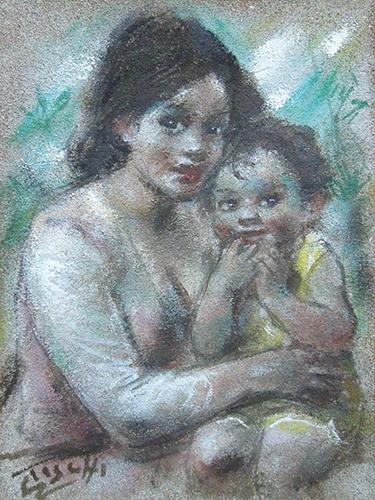 Quadro di Ermanno Toschi  Maternità  - olio cartone