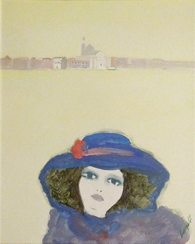 Art work by Renato Borsato Figura con cappello - oil canvas