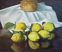 Quadro di  Petrelli - Natura morta di limoni olio tela