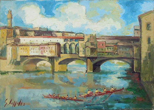 Quadro di Emanuele Cappello Ponte Vecchio con canottieri - olio tela