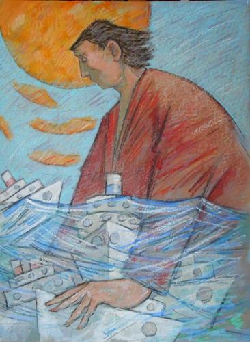 Quadro di Giampaolo Talani Salvataggio delle navi bianche - mista cartone
