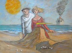 Quadro di Giampaolo Talani Il castello di sabbia - mista cartone
