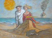 Work of Giampaolo Talani - Il castello di sabbia mixed cardboard