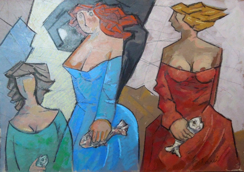 Art work by Giampaolo Talani Tre donne con il pesce - mixed cardboard