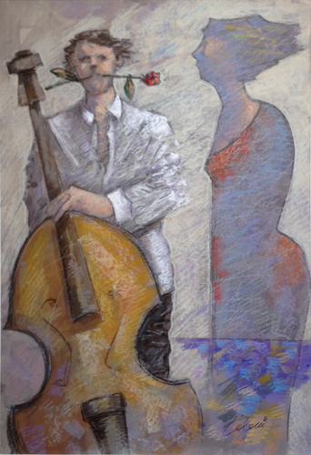 Art work by Giampaolo Talani Musicista innamorato - mixed cardboard