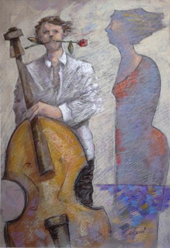 Quadro di Giampaolo Talani Musicista innamorato - mista cartone