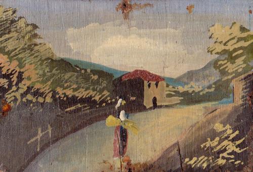 Quadro di  Anonimo Paesaggio - olio tavola