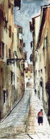 Art work by Rodolfo Marma Via del Fico - watercolor paper
