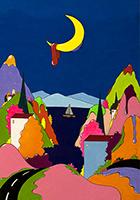 Quadro di Luca Albizi - Il lago e la luna  mista tela