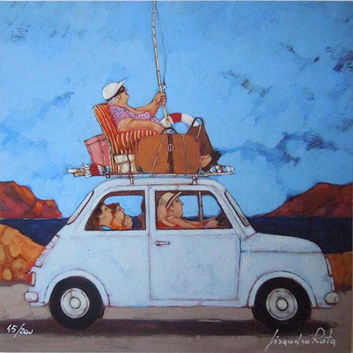 Quadro di Lisandro Rota Vacanze per tutti - Pittori contemporanei galleria Firenze Art