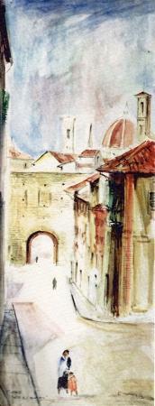 Quadro di Rodolfo Marma Porta a S. Miniato - acquerello carta