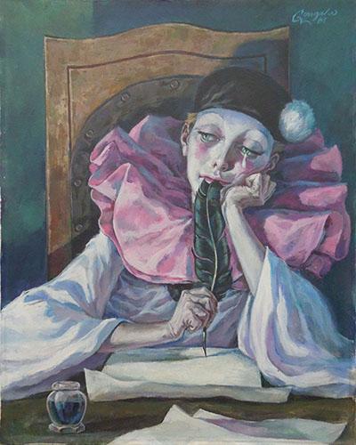 Quadro di Ivan Gongalov Pierrot - olio tela