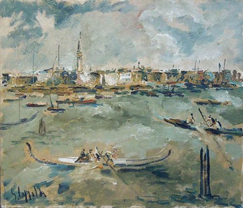 Quadro di Emanuele Cappello Canal Grande Venezia - olio tela