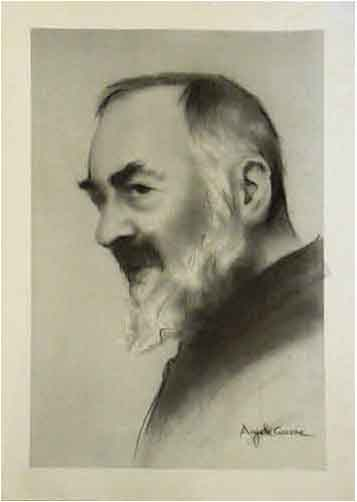 Art work by A. Ciccone  Padre Pio - mixed paper