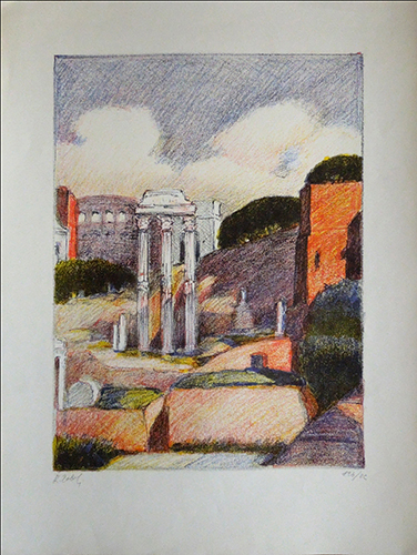 Art work by firma Illeggibile Foro romano - lithography paper