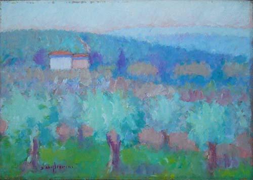 Quadro di Dino Migliorini Paesaggio con olivi - Pittori contemporanei galleria Firenze Art