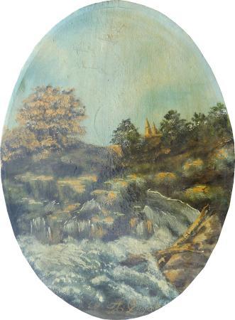 Quadro di firma Illeggibile Paesaggio - olio tela