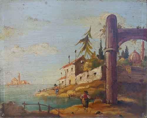 Quadro di  Anonimo Marina con rovine  - olio tavola