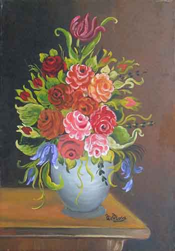 Art work by  De Rosa  Vaso di fiori  - oil canvas