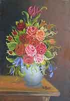 Quadro di  De Rosa   Vaso di fiori